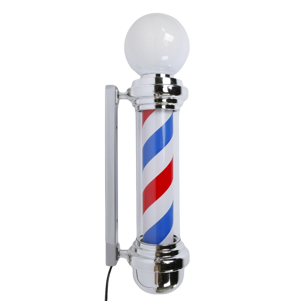 Rotating Barber Pole Light LED Light US Plug Red & Blue & White (32'') by WSTX