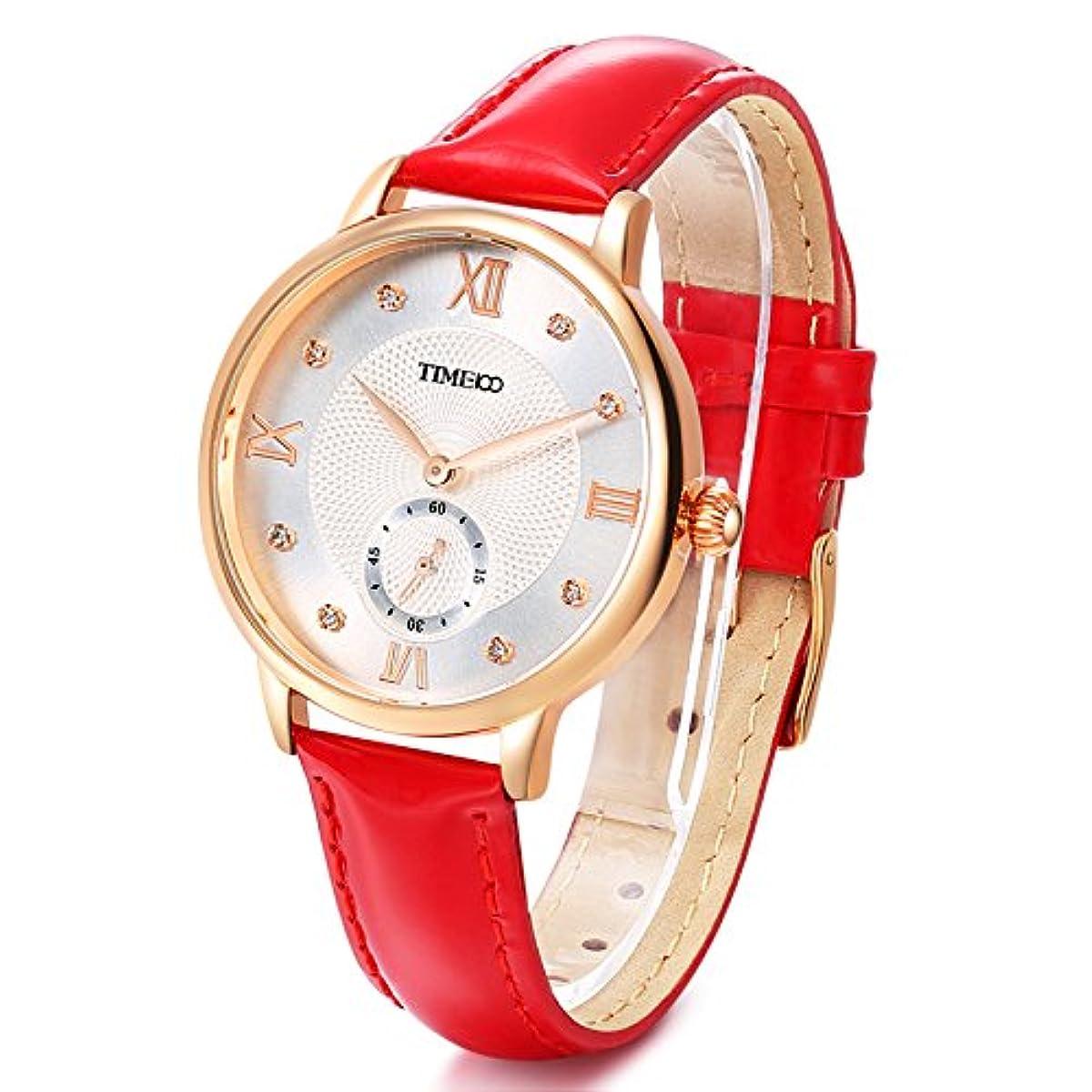 [해외] TIME100 로마숫자 문자판 라인 doll 첨부 가죽 밴드 패션 레이디스 손목시계 W80099L (레드)