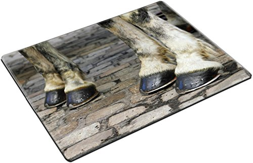 MSD Place Mat Non-Slip Natural Rubber Desk Pads design 24749679 Image with two pair of white horse hooves on a block pavement Christmas days in the old city Vienna Austria Central (Vienna Soap)