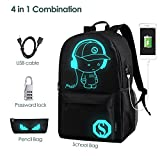 Anime Backpack for School, SKL Luminous Backpack Canvas Cartoon Backpack with usb Cable and Lock and Pencil Bag for Teens Girls Boys-Black