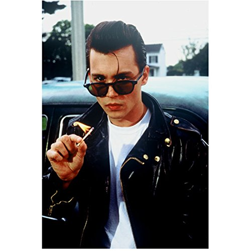 Johnny Depp 8x10 Photo Cry-Baby Black Leather Jacket Over White Tee Holding Lit Match kn