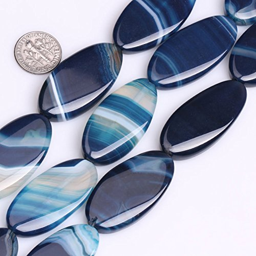GEM-inside Stripe Agate Gemstone Loose Beads 20x40mm Oval Blue Crystal Energy Stone Healing Power Beads for Jewelry Making 9 ()