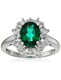 Sterling Silver Created Emerald and Created White Sapphire Ring, Size 7