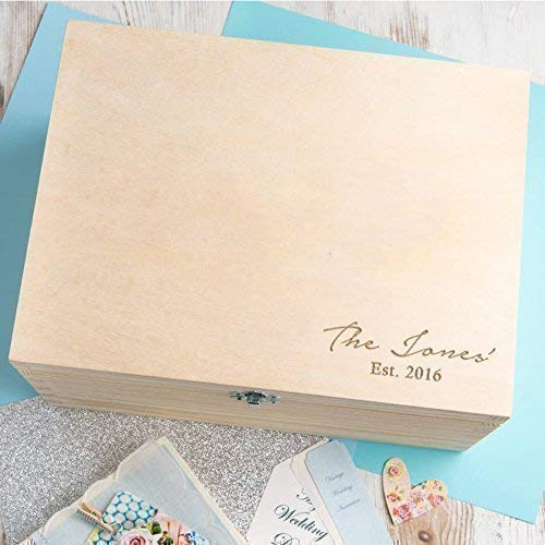 Personalised Family Gifts for Women - Engraved Memory Box - Wooden Keepsake Box - House Warming Presents - Engagement Gifts for Her - Happy New Home - Wedding Present Ideas