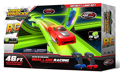 Max Traxxx R/C Award Winning Tracer Racers High Speed Remote Control Infinity Loop Track Set with Two Cars for Dual Racing