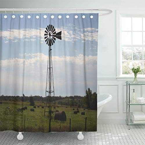 - Semtomn Shower Curtain Northeast Rural Farm Kansas Windmill Landscape Nature Photography 72