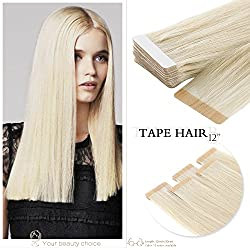 Neitsi A6 12inch Tape in Human Hair Extension Seamless Skin Weft Straight Remy Hair 10pcs (60A#)