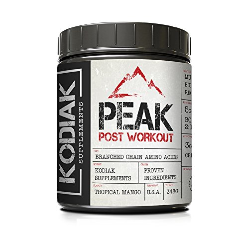 Peak Post Workout - BCAA 2:1:1 - Creatine - Glutamine - Muscle Recovery and Strength Building Supplement - 30 Servings - Tropical Mango