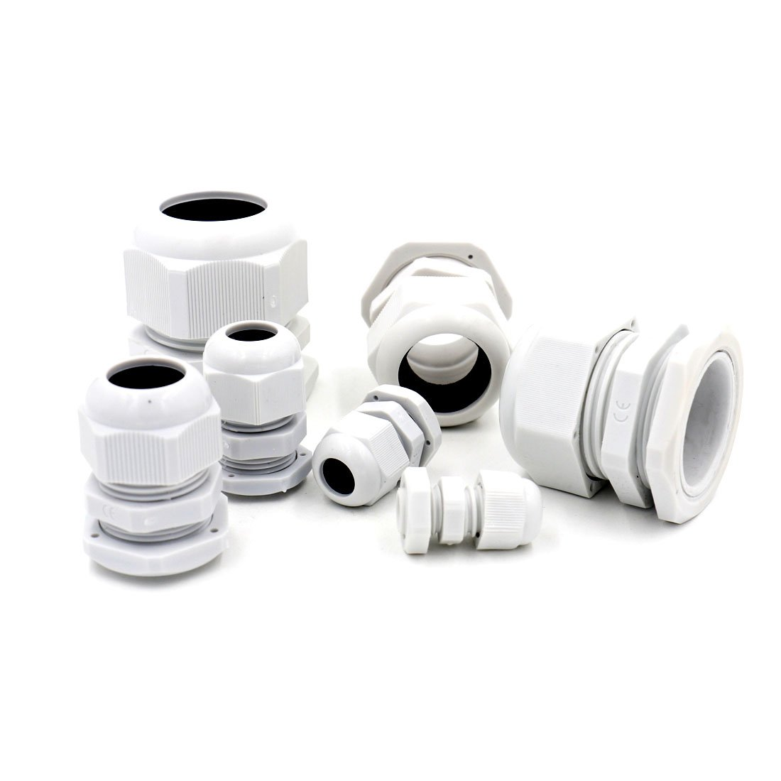 Baomain Plastic Waterproof Adjustable 3.5 - 13mm White Cable Gland Joints, PG7, PG9, PG11, PG13.5, PG16, Pack of 20