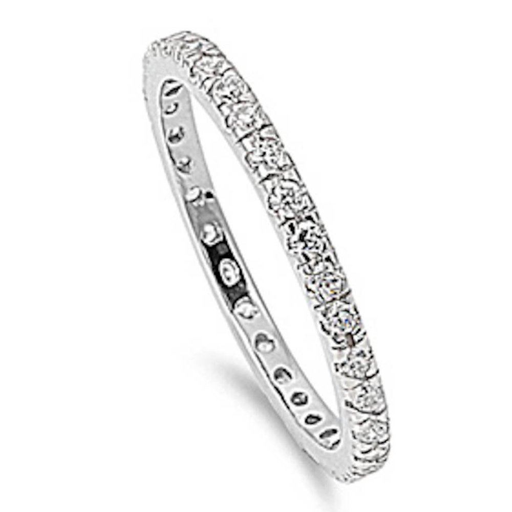 Oxford Diamond Co Stackable Cubic Zirconia .925 Sterling Silver Eternity Band Size 9