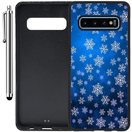 Custom Case Compatible with Galaxy S10 Plus (6.4 inch) (Blue Snowflakes Bokeh) Edge-to-Edge Rubber Black Cover Ultra Slim | Lightweight | Includes Stylus Pen by Innosub