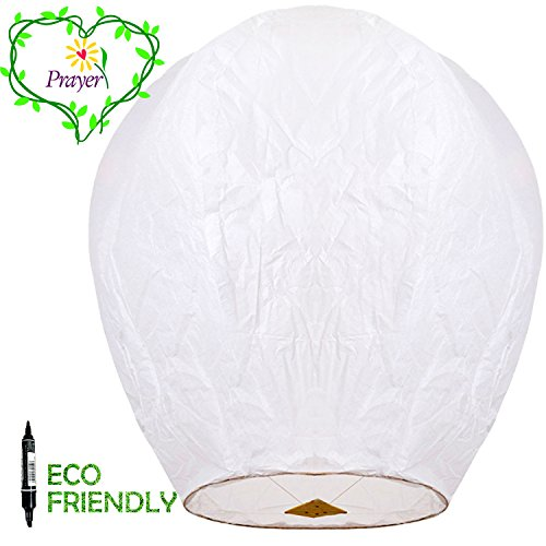 Chinese Lanterns & Sky Lanterns ECO Friendly - 100% Biodegradable - Beautiful Lantern for White for Weddings, Birthdays, Memorials and Much More (5 (Paper Sky Lanterns)