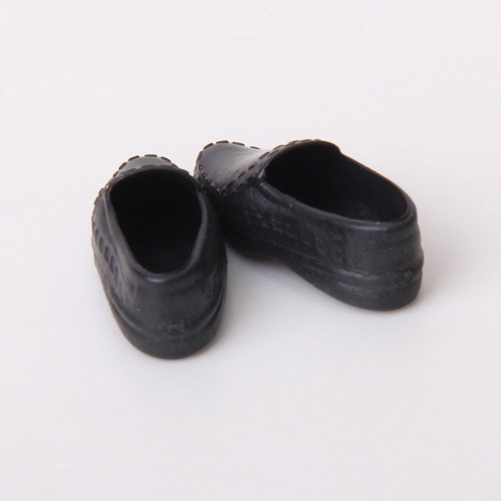 Sharplace 3 Paires 1//6 Chaussures de Poup/ée Bottes Souliers Noir Blanc en Plastique D/écoration pour Ken Dolls