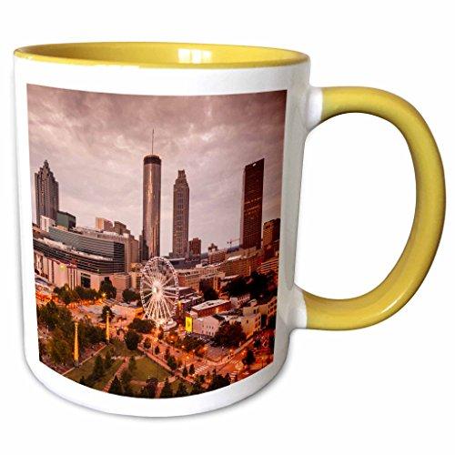 3dRose Danita Delimont - Georgia - Georgia, Atlanta, Centennial Olympic Park - 11oz Two-Tone Yellow Mug (mug_230619_8) (Park Lights Christmas Centennial)