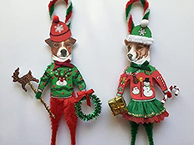 Jack Russell Terrier UGLY CHRISTMAS SWEATER ORNAMENTS Vintage Style Chenille Ornaments Set of 2