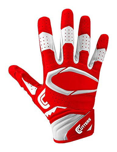 Cutters Gloves S451 Rev Pro 2.0 Receiver Football Gloves with Sticky C-Tack Grip, Red/White, Adult L by Cutters
