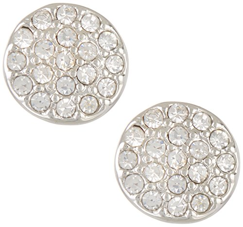 Rhinestone Chaps (Chaps Pave Rhinestone Disc Stud Earrings One Size Silver tone/clear)