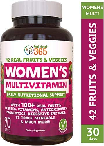 Women's Vegetarian Multivitamin by Feel Great 365  Chromium, Magnesium, Selenium, Greens, Calcium for Immunity & Natural Energy*   Supports Gut Health with Digestive Enzymes & Probiotics*