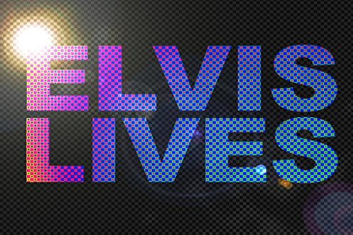 Elvis Lives Dotted Lights Art Print Mural Giant Poster 54x36 (Elvis Light)