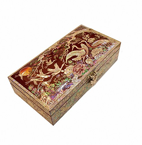Mother of Pearl Ten Traditional Symbols of Longevity Design Jewelry Box Nacre Jewellry Case by JMcore High Quality Jewelry Box