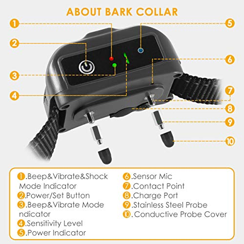 ELenest Bark Collar, 2019 Upgraded Smark Barking Control Device, Adjustable Vibration, Shock Sensitivity Level, Rechargeable Waterproof, Barking Detection for Small Large Dog, No Bark Collar by ELenest (Image #2)