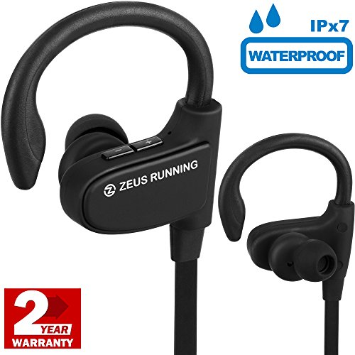 Sport Headphones - EXCLUSIVE 2017 - Best Small Running Headphones with Adjustable Ear Hooks - Waterproof IPx7 - Earbuds with Mic - Wireless Workout Earbuds for Men Women with Small Ears