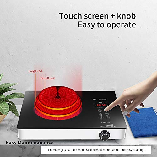 Portable Induction Cooktop Countertop Burner, 2200-Watt 120-Volts Smart Touch Sensor Countertop Induction Range Cooker, Stainless Steel Cookware with Temperature Control by Wiland (Image #4)