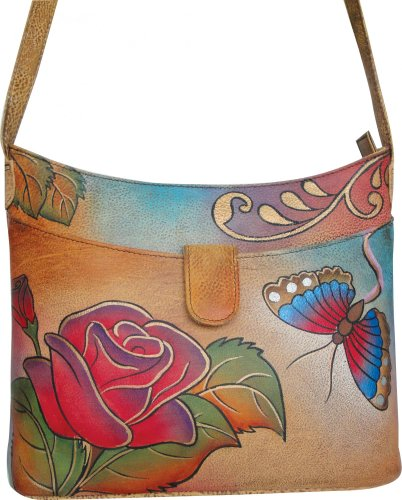 ANNA by Anuschka ANNA by Anuschka Small Shoulder Bag – Rose Butterfly (Rose, Bags Central