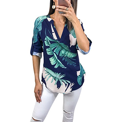 Tab 3/4 Sleeve (Tkria Womens Summer Shirts V Neck Floral Printed Blouse 3/4 Roll Sleeves Geometric Pattern Irregular Casual Tunic Tops)