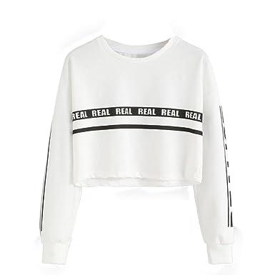 best website 41d73 2eb6e UOMOGO Felpe Sportive con Cappuccio Donna Ragazza Maglie Manica Lunga Felpa  Strisce Pullover Tumblr Autunno Inverno Elegante Sweatshirt Oversize T ...
