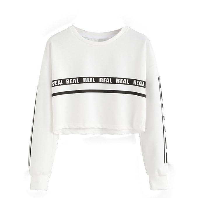 best website d7fd5 cdf2d UOMOGO Felpe Sportive con Cappuccio Donna Ragazza Maglie Manica Lunga Felpa  Strisce Pullover Tumblr Autunno Inverno Elegante Sweatshirt Oversize T ...