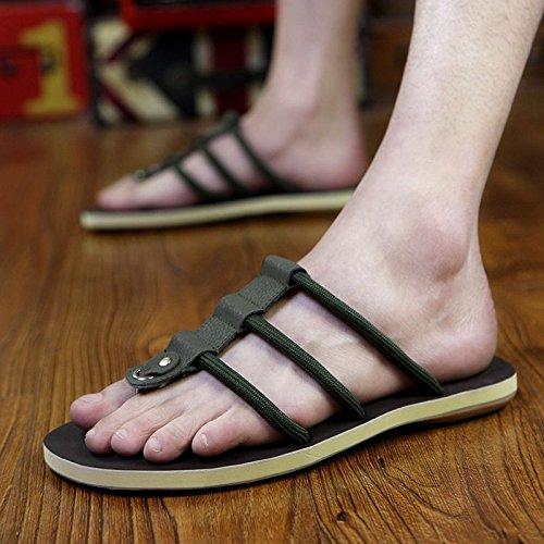 Xing Lin Sandalias De Hombre Zapatillas De Cuero De Hombres, Hombres Coreanos, Placa De Pie Calzado De Playa, Sandalias Y Zapatillas Pinch army green