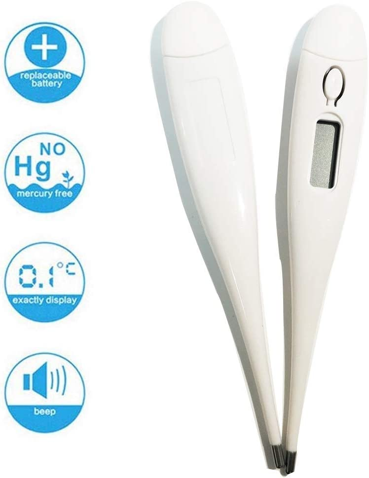 Natsuki Oral Digital Thermometer for Fever Accurate and Readings in 10-20 Seconds LCD Digital Thermometer Temperature Measurement Mouth for Baby Kids and Adult 2X, White