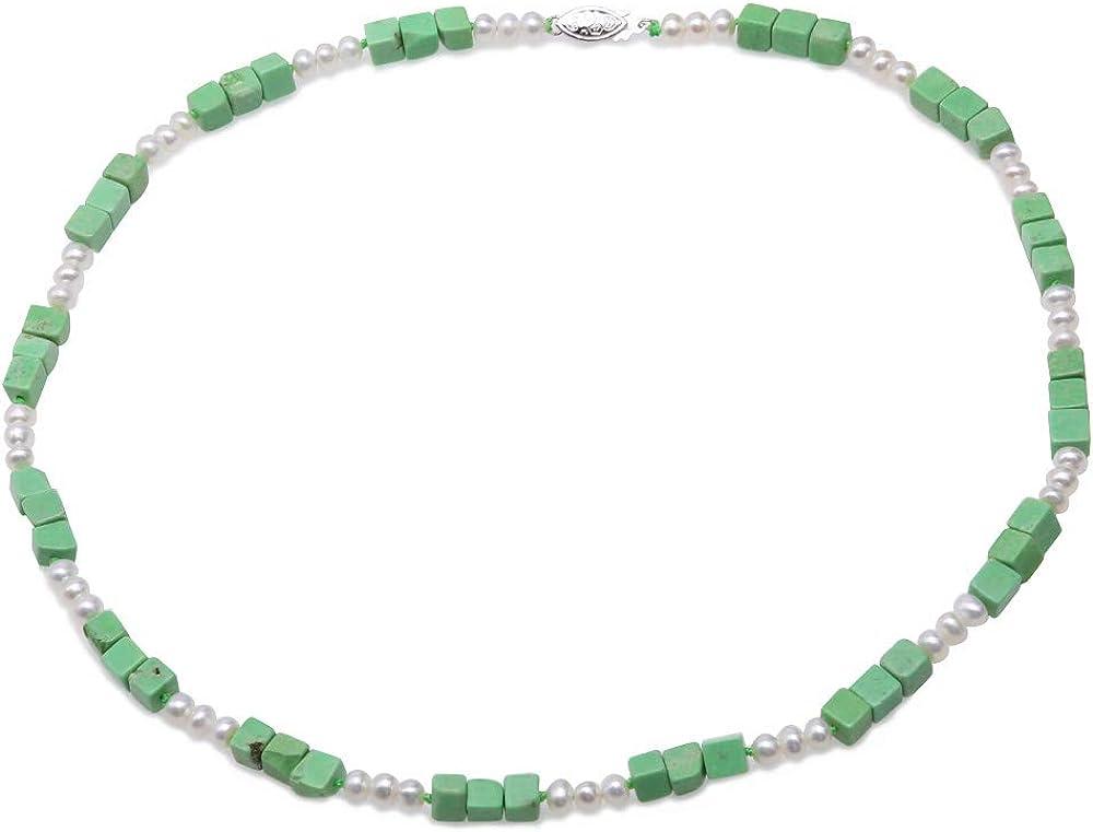 JYX Collar de Piedras Preciosas Turquesa Hecho a Mano, 8 x 14 mm, Turquesa Verde cúbico y Perlas Blancas de 7,5 a 8 mm para Mujer, 45,7 cm