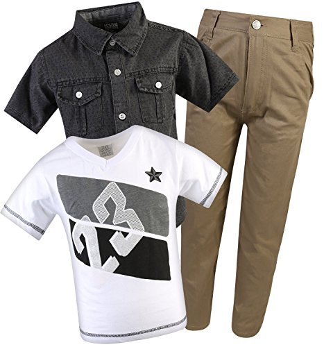 Quad Seven Little Boy's 3-Piece Pant Set with Woven Shirt and Tee, White/Khaki, Size (Over Print Pants Set)