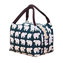 Printing Lunch Bags, Paymenow Waterproof Canvas Insulated Zip Stylish Portable Cooler Bag Lunch Box Package Food Storage Container for Work or School (E)