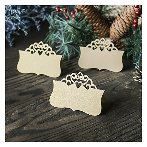 Wedding Table Place Cards Personalised Reception Decoration with Lace Crown Pattern Cardstock for Wedding ()