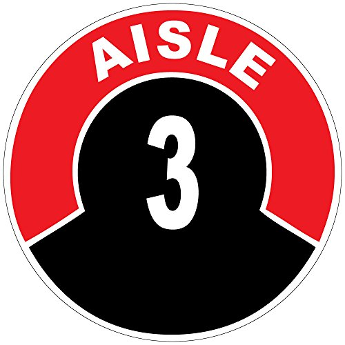 Aisle 3 Red Black Anti-Slip Floor Sticker Decal 17 in longest side (Store Aisle Signs)