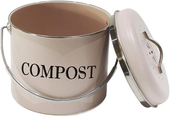 XMGJ Cocina Interior Compost Caja Redonda Blanca del hogar Espesado Cocina residuos de Materia orgánica del Cubo de la manija con la Tapa (Color : A): Amazon.es: Hogar