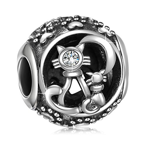 925 Sterling Silver Purrfect Together Kittens and Cat Paw Charms Bead for European Snake Chain Bracelets