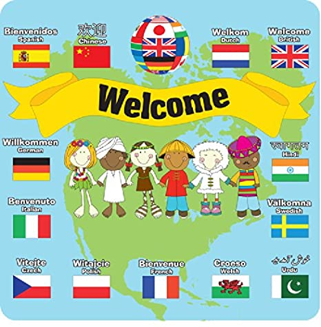 Upson Downs Multicultural Welcome Language And Flag Sign