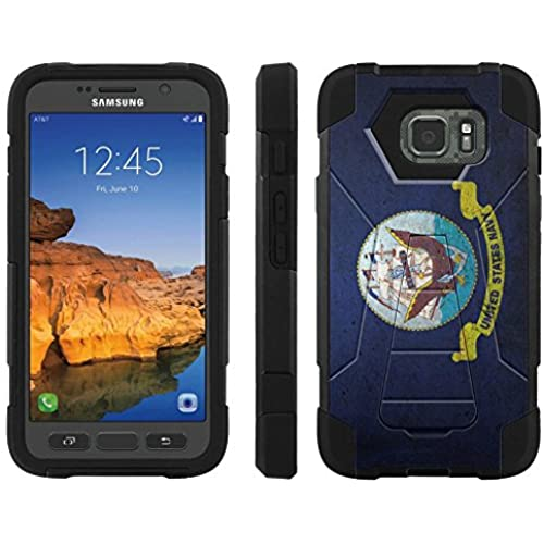 AT&T [Galaxy S7 Active] ShockProof Case [ArmorXtreme] [Black/Black] Hybrid Defender [Kickstand] - [Navy Flag] for Samsung Galaxy [S7 Active] Sales