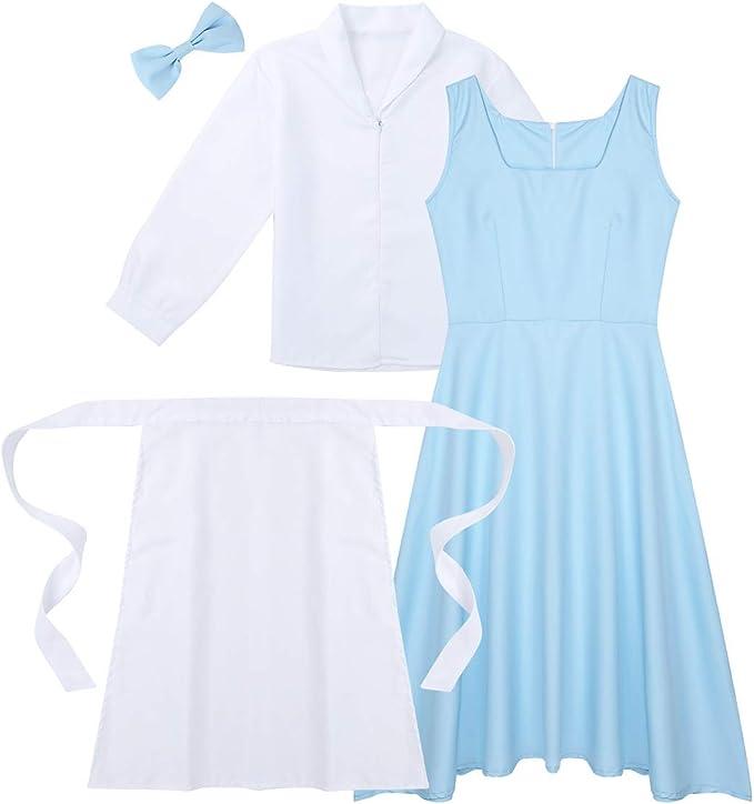 YiZYiF Vestido Princesa Azul Mujer Disfraz Halloween Wendy Alicia ...