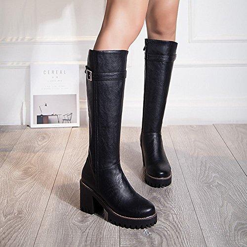 Womens Block Latasa Heels Boots Riding Black Monk High High Knee Strap 1wqHFdaf