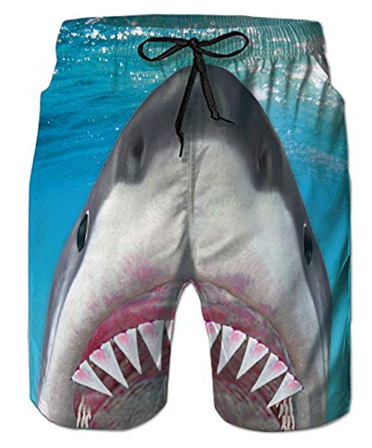 (Belovecol Bathing Suits for Teens Boys Juniors Adult 80s 3D Shark Surf Board Shorts S)