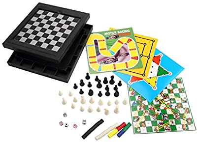 [10 in 1][2~4 player] ABS Plastic Magnetic Game Chess/Checkers/Backgammon/Chinese Checkers/Nine Men's Morris Game/Snakes&Ladders Game/Ludo Game/Motor Racing/Train Chess Game