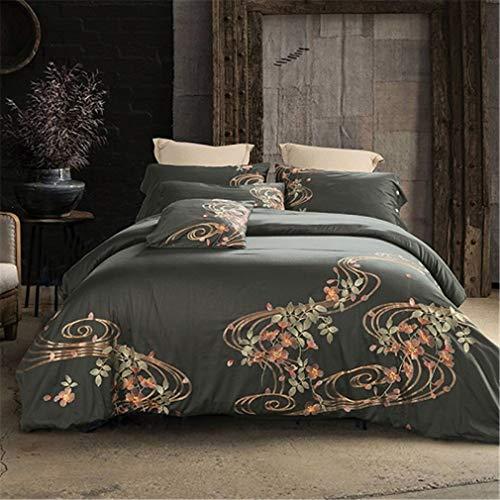 (Mandarin Duck Embroidery Oriental Bedding Set King Queen Size Bed Set Duvet Cover Bedsheet Pillowcases 15 Queen 4pcs )