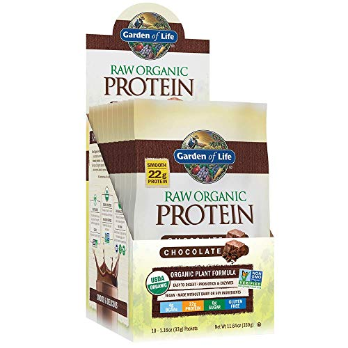 (Garden of Life Raw Organic Protein Chocolate Powder Packets, 10ct Tray - Certified Vegan, Gluten Free, Organic, Non-GMO, Plant Based Sugar Free Shake with Probiotics & Enzymes, 4g BCAAs, 22g Protein)