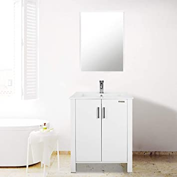 Amazon Com 24 Inch Bathroom Vanity Suite Sink Top Ceramic Combo With Overflow White Drop In Ceramic Sink Top White Mdf Modern Bathroom Cabinet Chrome Solid Brass Faucet And Pop Up Drain