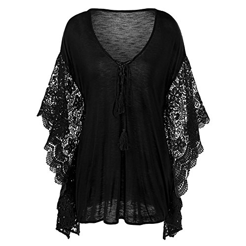 Butterfly Plus Size T-shirt (Womens Tops Sexy V Neck Lace Butterfly Sleeve Plus Size Blouse T Shirt By Baifern)